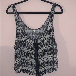 Black and white tie dye tank top